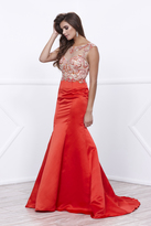 Unique Vintage Red Sexy Fitted Mermaid Embellished Long Gown