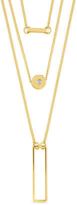 Sterling Forever 14K Plated Cz Disk & Open Bar Layered Necklace
