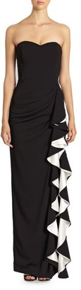 Badgley Mischka Strapless Contrast Ruffle Gown