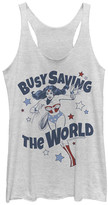Fifth Sun Women's Tee Shirts WHITE - Wonder Woman White Heather 'Saving The World' Racerback Tank - Women & Juniors
