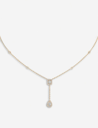 Messika My Twin 18ct pink-gold and 0.10ct diamond tie necklace
