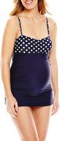Spencer Dot Print Crossover-Cup Swim Dress - Maternity
