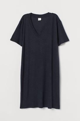 H&M Linen-blend T-shirt Dress - Blue