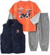 Kids Headquarters 3 Pc. Faux Fur Vest, Layered Look T-Shirt & Pants Set, Baby Boys (0-24 months)