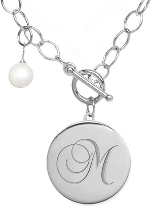 Jane Basch Silver 6-8Mm Pearl A-Z Initial Toggle Necklace
