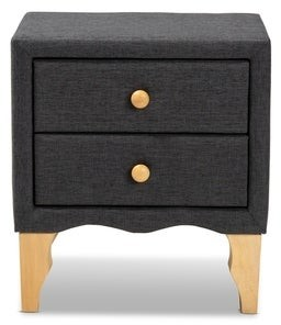 Baxton Studio Contemporary Fabric 2-Drawer Nightstand