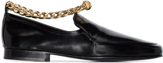 BY FAR Nick chain-trim leather loafers