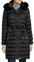 Burberry Fox-Trim Long Puffer Coat, Black