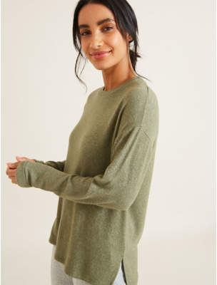 George Khaki Brushed Texture Rolled Cuff Top