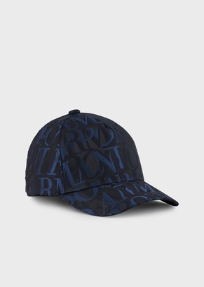 Emporio Armani Jacquard Baseball Cap With All-Over Lettering