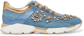 Rene Caovilla Rene' Caovilla Embellished Denim Sneakers
