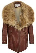 River Island Girls brown faux fur collar fallaway coat