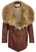 River Island Girls brown faux fur collar fallaway coat