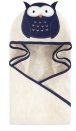 Hudson Baby Unisex Baby Animal Face Hooded Towel, Navy Owl 1-Pack, One Size