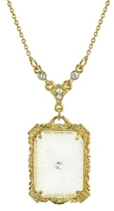 "Downton Abbey Gold-Tone Frosted Lalique-Inspired Square Pendant Necklace 16"" Adjustable"