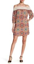 Trixxi Printed Crepe & Crochet Cold Shoulder Dress