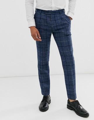 Asos DESIGN slim smart pants in 100% wool Harris Tweed in blue check