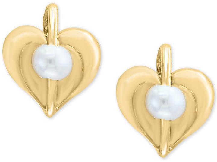 Effy Kidz Cultured Freshwater Pearl (3mm) Heart Stud Earrings in 14k Gold