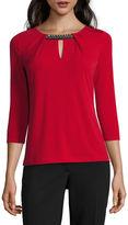 Liz Claiborne 3/4 Sleeve Keyhole Neck Embellished T-Shirt