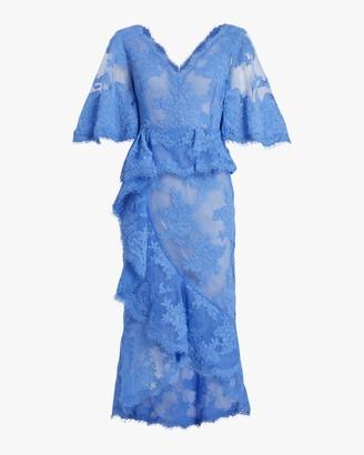 Marchesa V-Neck Ruffle Lace Cocktail Dress