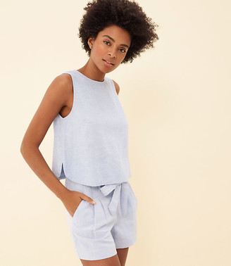 LOFT Chambray Bar Back Cropped Shell