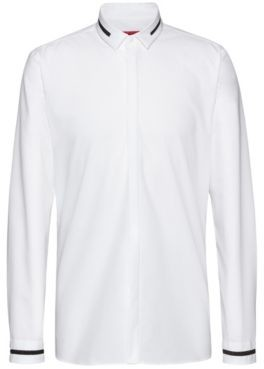 HUGO Extra-slim-fit cotton shirt with stardust tape details