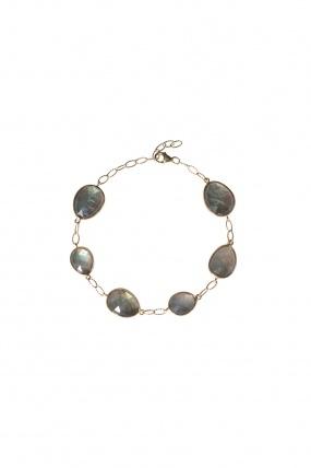 Elle + Cie Labradorite slice bracelet on 14K gold link