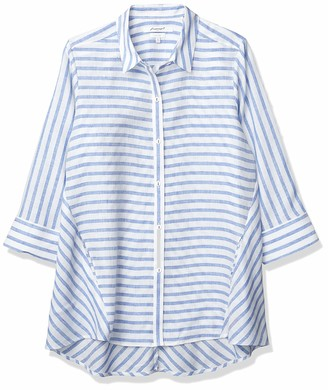 Foxcroft Women's Carlene Easy Care 3/4 SLV. Classic Stripe Linen Tunic
