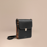 Burberry The Medium Satchel In Textural Leather And House Check