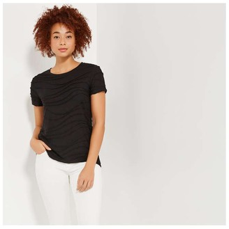 Joe Fresh Women's Wavy Crew Neck Tee, JF Black (Size M)