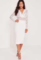 Missguided Contrast Lace Cowl Midi Dress White