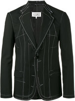 Maison Margiela topstitch detail blazer - men - Cotton/Carbon/Polyamide/Wool - 46