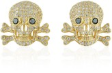 Artisan Skull Stud Earring 18Kt Yellow Gold Pave White Diamond