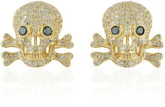 Artisan Skull Stud Earring 18Kt Yellow Gold Pave White Diamond