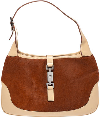 Gucci Tan/Beige Calfhair and Leather Jackie O Hobo