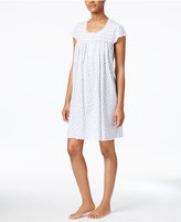 Miss Elaine Smocked Floral-Print Knit Nightgown