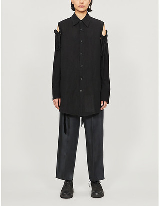 Song For The Mute Tied-sleeve asymmetric wool and linen-blend shirt