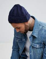Asos Fisherman Beanie In Navy With COLORED Nepp