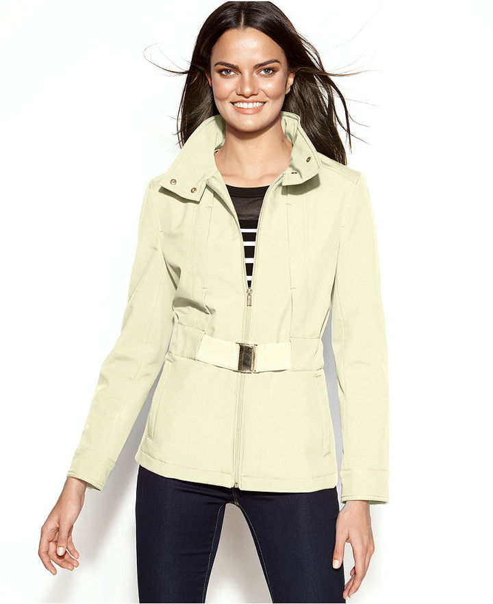 Kenneth Cole Reaction Belted Zip-Front Hooded Soft Shell Coat