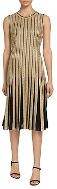 St. John Gold Cable Stripe Knit Sequin Detail Dress
