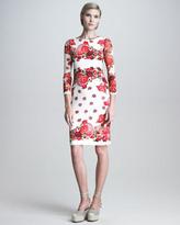 Jean Paul Gaultier Printed Three-Quarter-Sleeve Sheath Dress