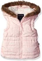 Nautica Baby Girls' Printed Filled Vest with Sherpa Lined Hood