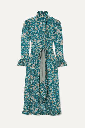 Evi Grintela Gisele Ruffled Floral-print Cotton Maxi Dress - Blue