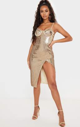 PrettyLittleThing Gold Sequin Corset Detail Strappy Midi Dress