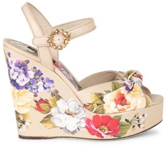 Dolce & Gabbana Floral-Print Leather Platform Wedge Sandals