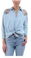 3x1 Women's Freja Laser Cut Denim Shirt