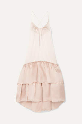 Silvia Tcherassi Angelique Tiered Silk-blend Satin And Organza Maxi Dress - Blush