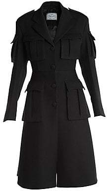 Prada Women's Gabardine Utility Pocket Wool Coat