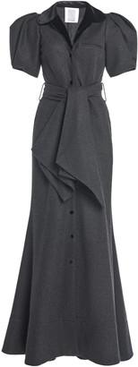 Rosie Assoulin Puffed-Sleeve Wool-Cotton Maxi Dress