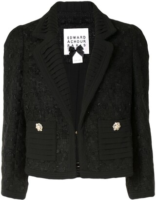 Edward Achour Paris Pleat-Detail Cropped Tweed Jacket